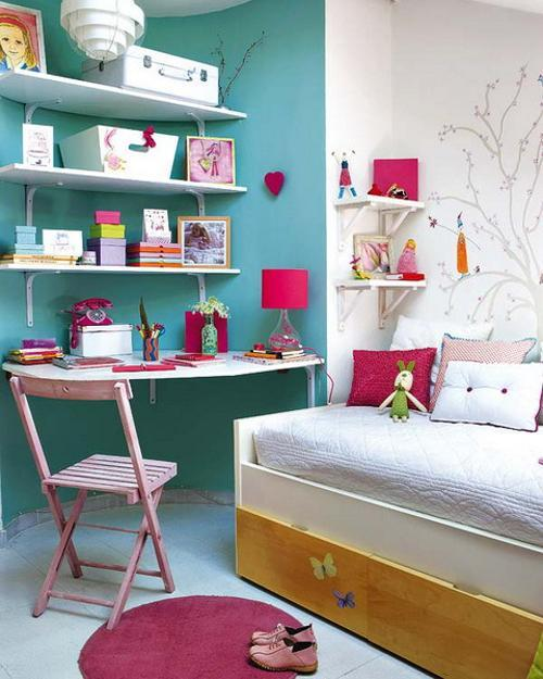 Attic girl bedroom design and room colors