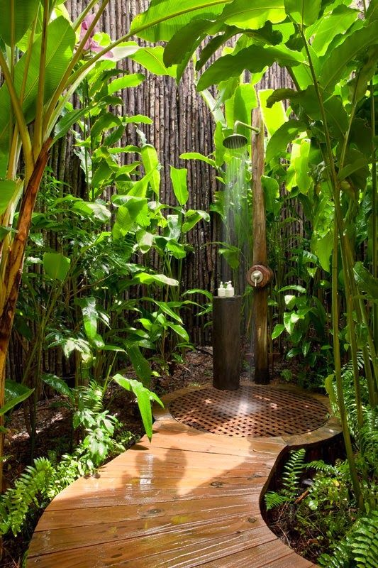 Bamboo Enclosed Outdoor Shower