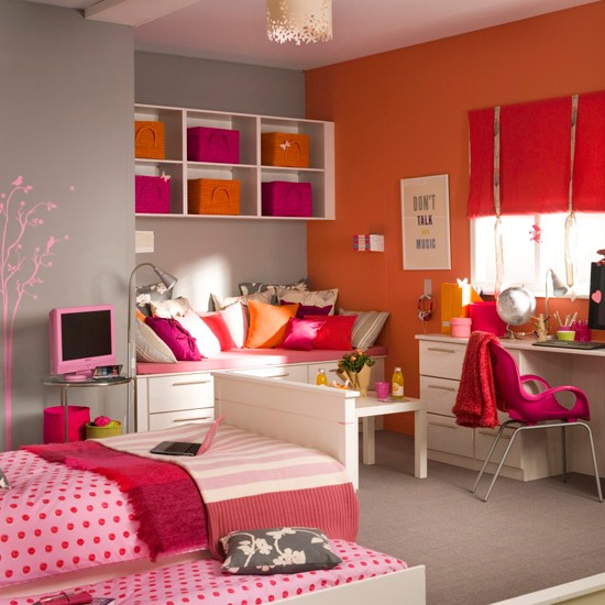 colorful bedroom ideas for teenage girls with medium sized rooms space