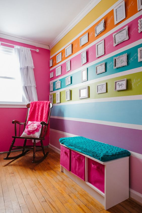 Colorful Striped Wall in Nursery