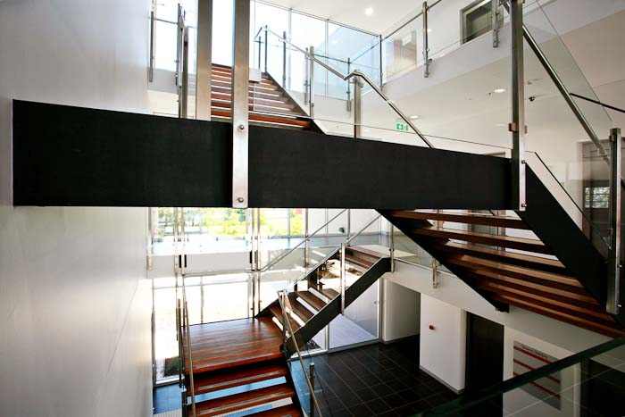 Combination of Steel wood and glass staircase