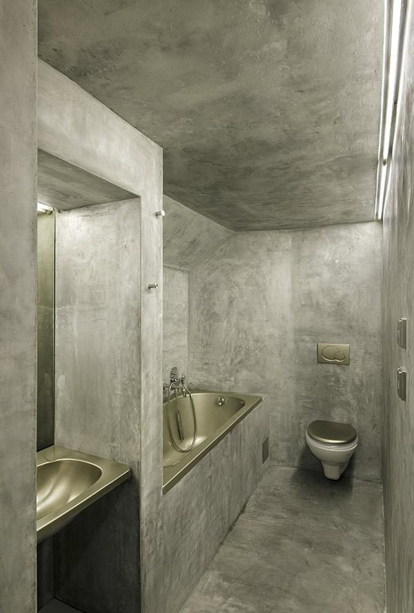 Concrete small bathroom