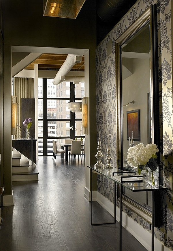 Contemporary entryway design with floral patterns for a chic look