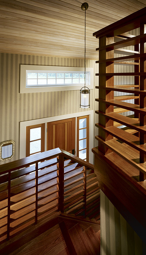 Cool wooden stairs railings