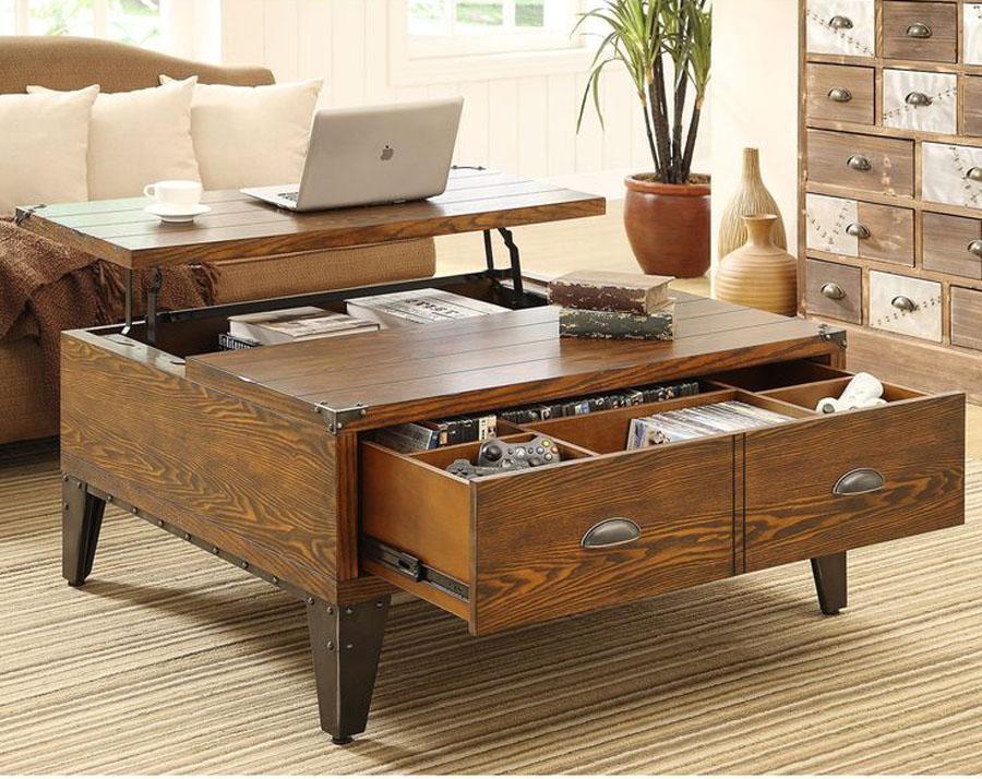 Dark Wood Coffee Table & Storage Drawers