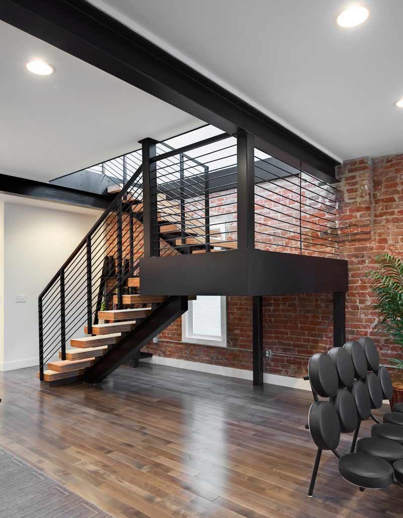 Industrial design modern metal staircase