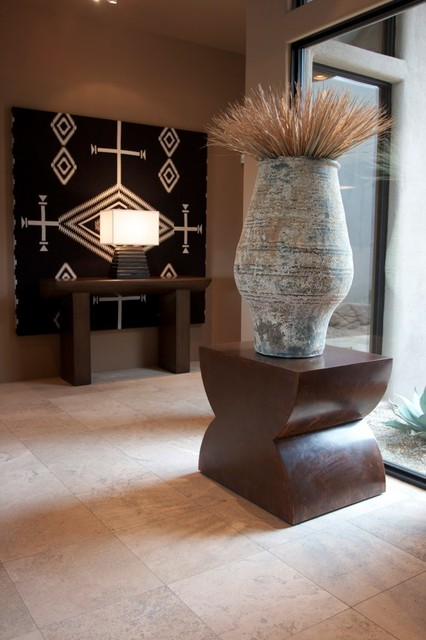 Large Scale, Large Ceramic Vessel & Desert Floral Contemporary Entry