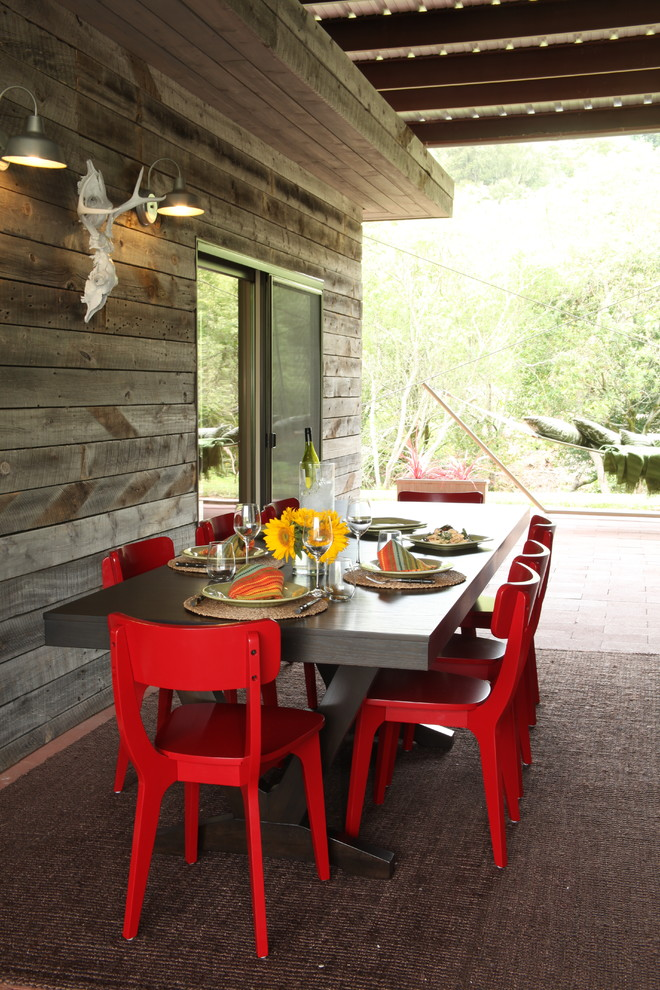 Marvelous Bungee Chair fashion Other Metro Rustic Porch Image Ideas with Barn Light covered patio outdoor dining outdoor rug patio furniture red chairs