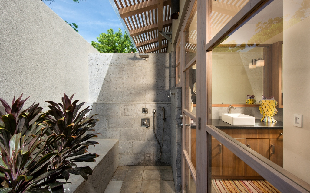 Modern bathroom and outdoor garden shower