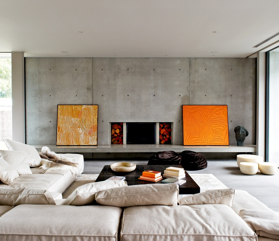 Modern interior design colors plan in black and gray color tones with orange accents