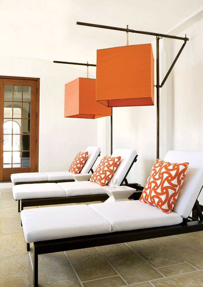 Orange color in the modrn interior design