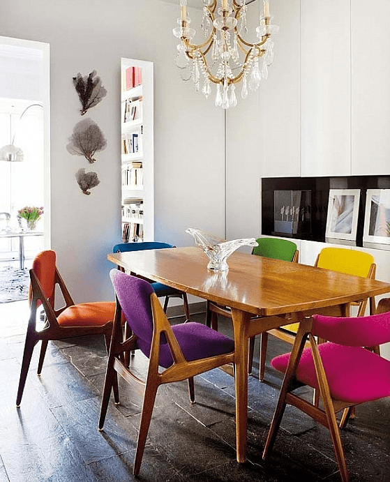 Rainbow Designs Rainbow Home Decor Accent Chairs at Dining Room Table