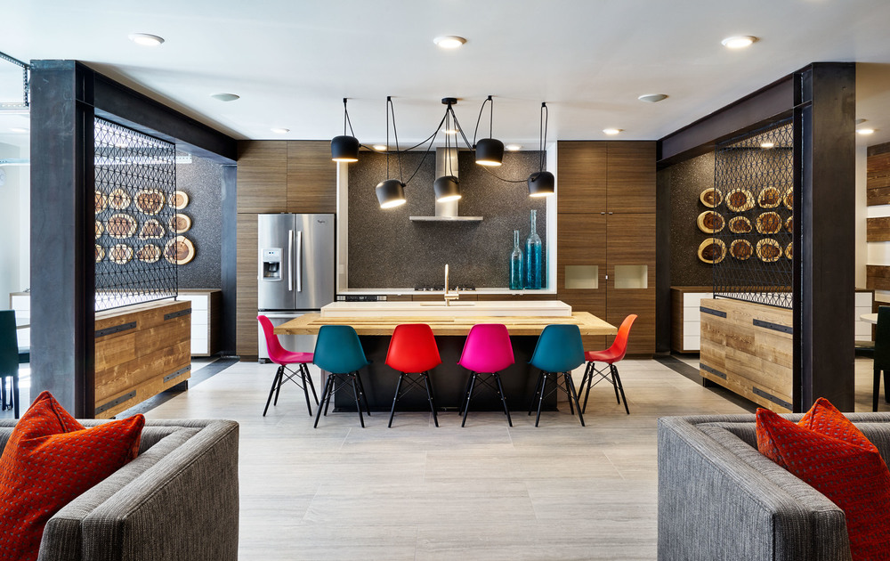 Rainbow colored dining table