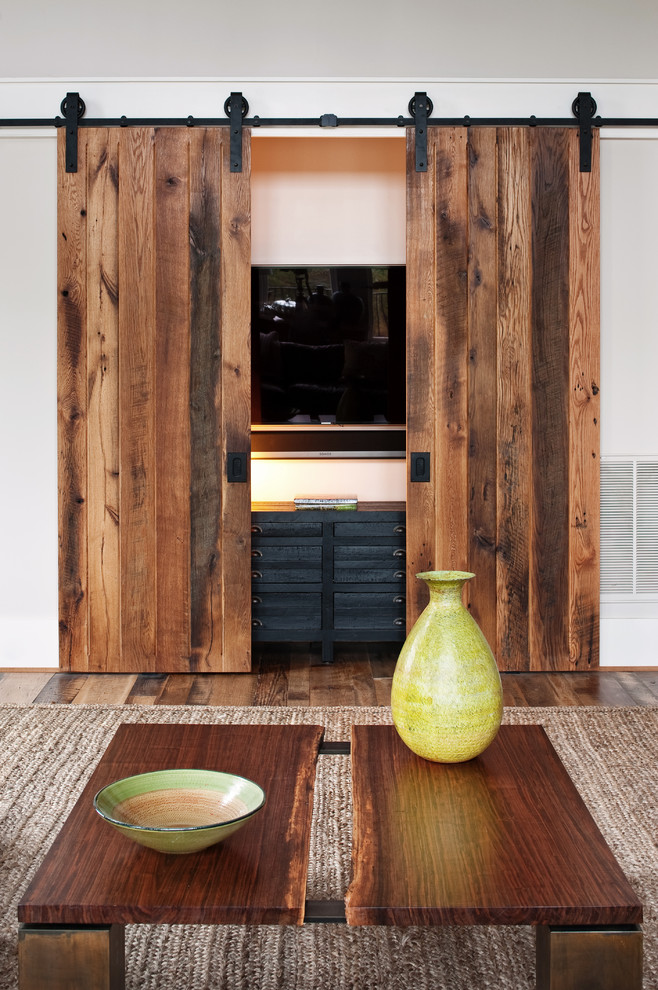 The beauty of reclaimed wood interior design explained for Living room door designs