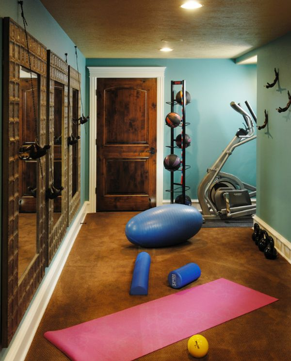 Small-home-gym-with-a-basketball-organizer-and-lovely-mirrors