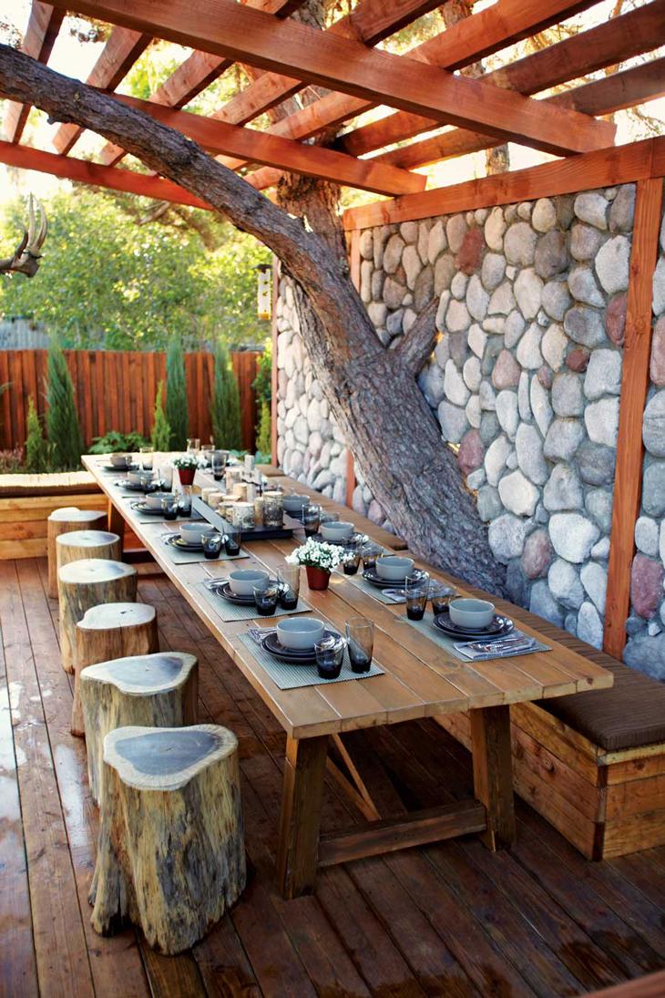 Stunning backyard design with charming patio decoration