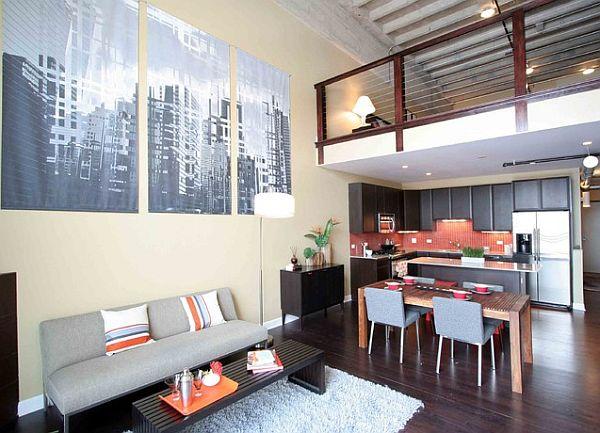 Stylish loft living room interior design