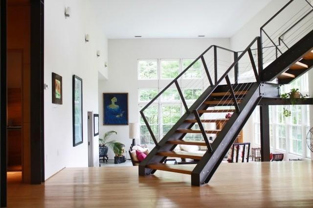 The modern steel stair...