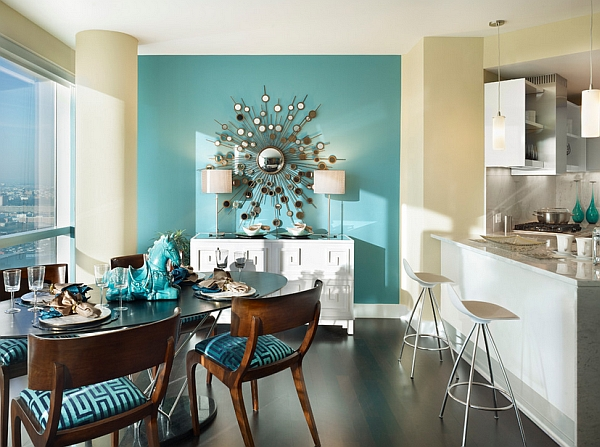 Turquoise colors and white ceilings to create beach vibes