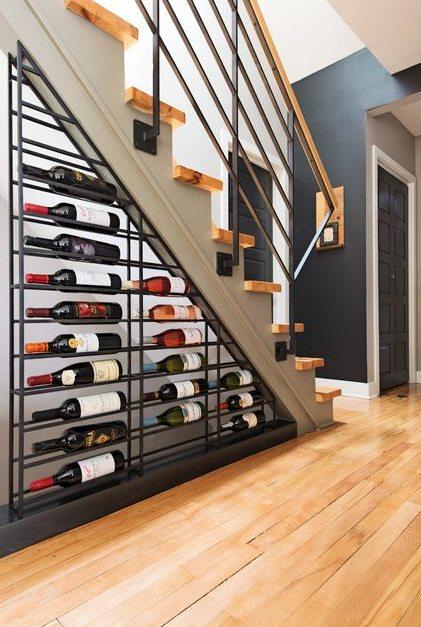 Under staircase wine storage