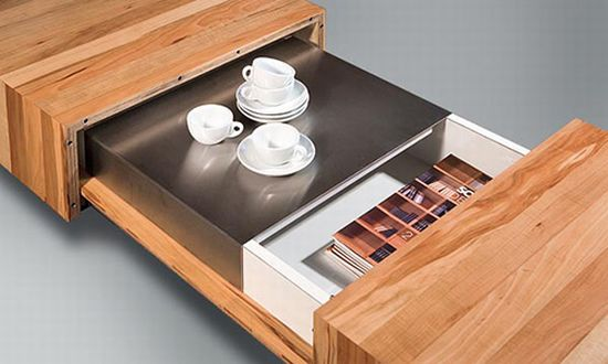 Wooden Coffee Table with Hidden Storage