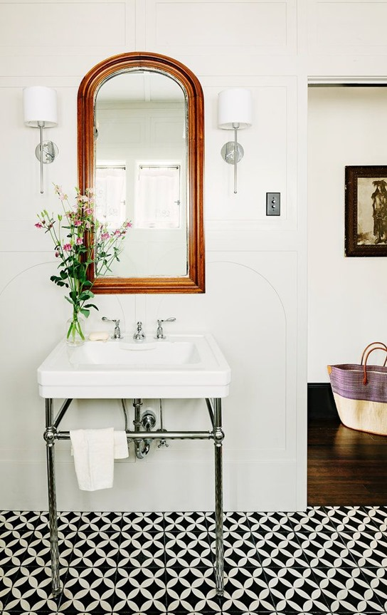 black-and-white-tile-floor-in-bathroom