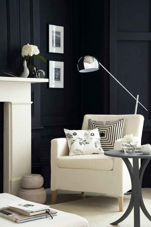 Black Wall Design Ideas : Bold black and white interior design ideas