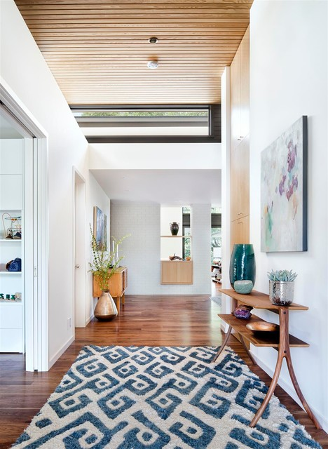 contemporary-entry with console table and rug