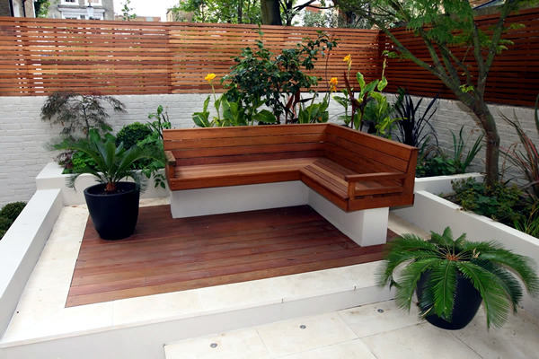 contemporary outdoor bench