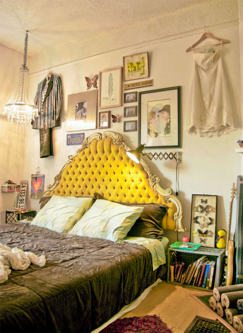 eclectic-bedroom-with colorful tufted headboard