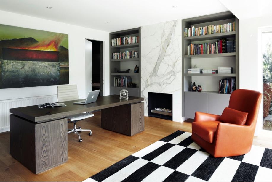 Modern Office Shelves Chair Desk Flooring