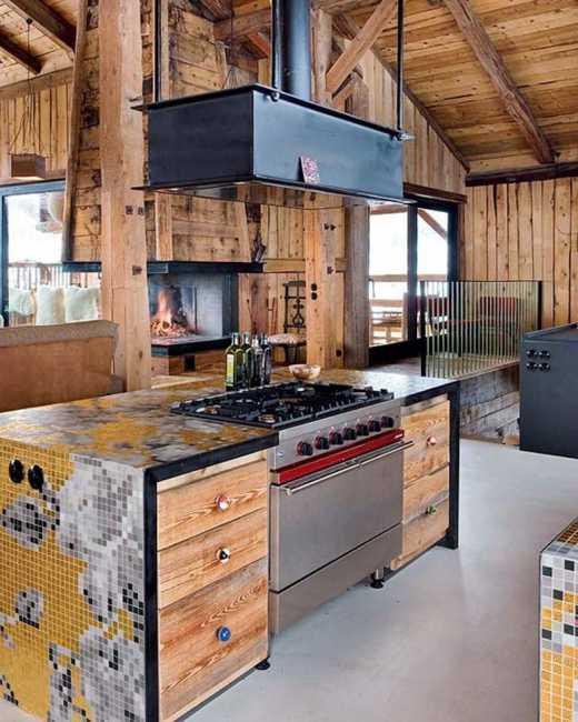 salvaged wood kitchen island