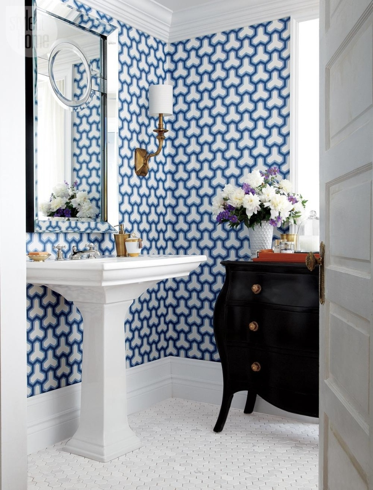 Wallpaper in small bathroom