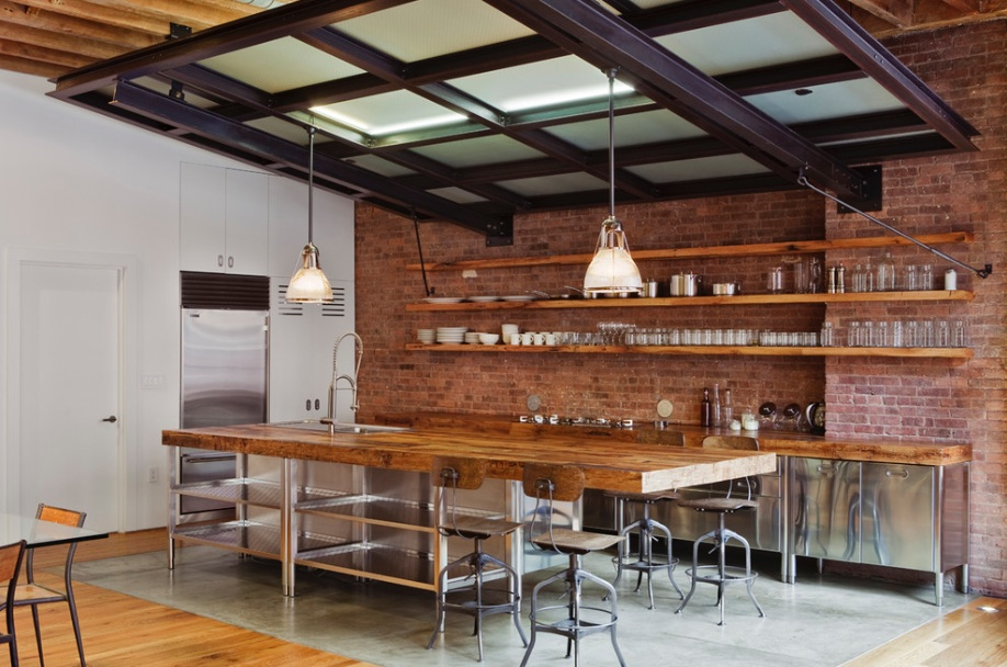 stainless-steel-kitchen-industrial-wood-brick