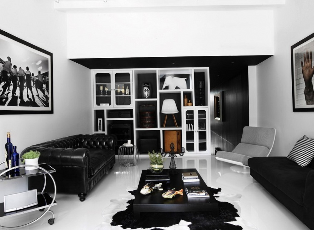 25 bold black and white interior design ideas - Black and white living room furniture ...