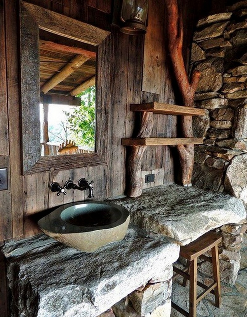 rustic bathroom decor bathrooms outdoor wood awesome sink stone showers designs natural bath cabin grid urban amazing shelves modern baths