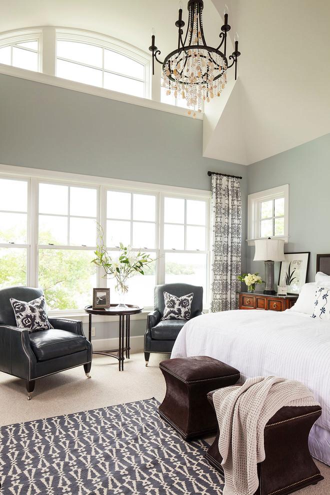 Bedroom blue calming chandelier