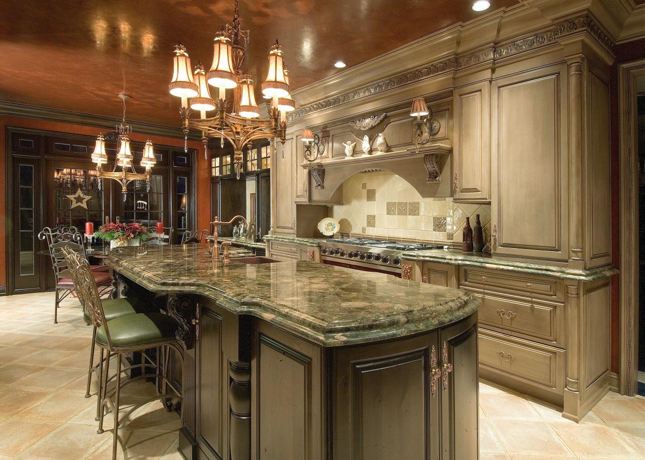 Elegant Kitchen With Metallic Ceiling