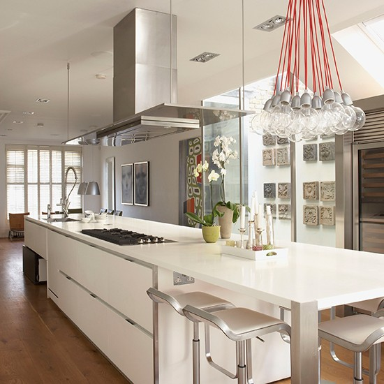 Glossy white contemporary kitchen