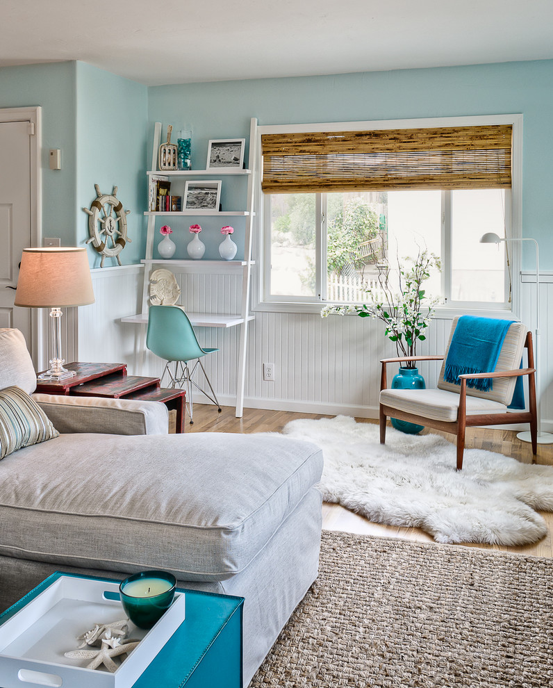 Bring the shore into home with beach style living room Blue beach bedroom ideas