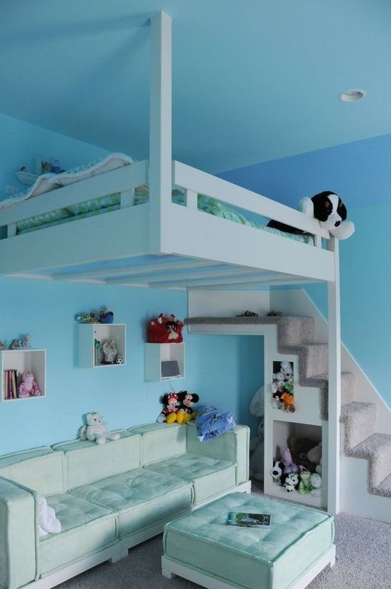 Hanging loft bed for kids