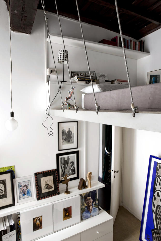 Hanging under the ceiling loft bed