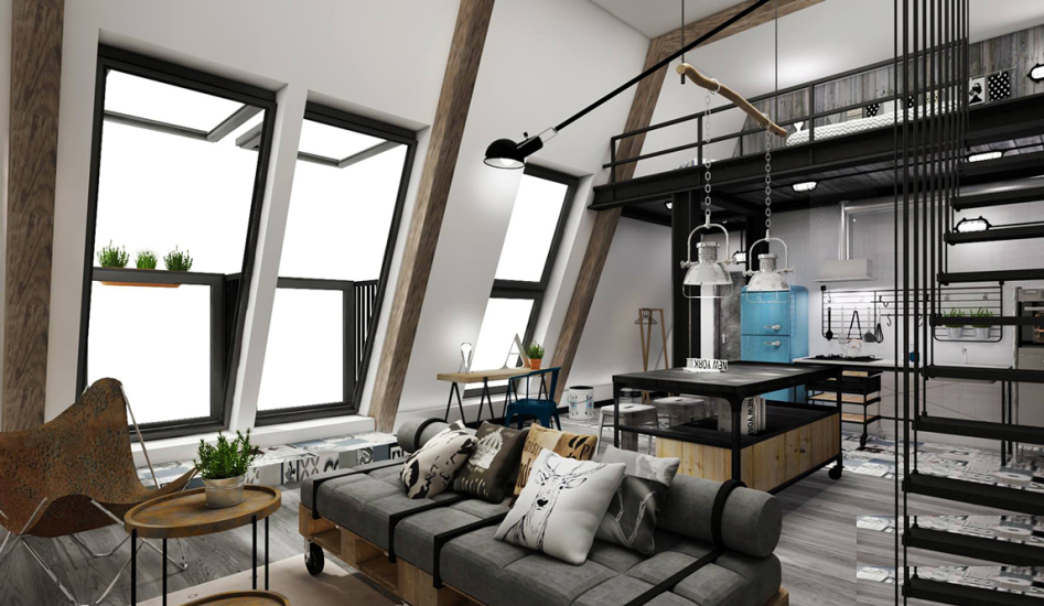 Industrial loft bedroom design