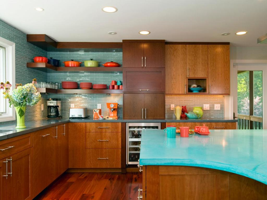 Mid Century Modern Kitchen With Turquoise Countertop