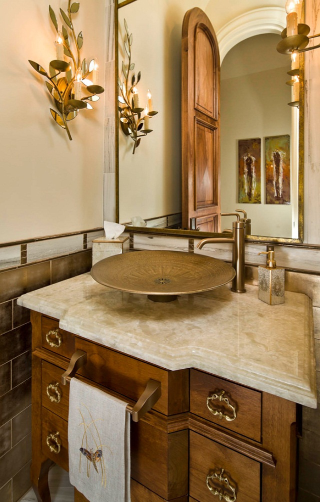 Small Powder Room With Gold Decor