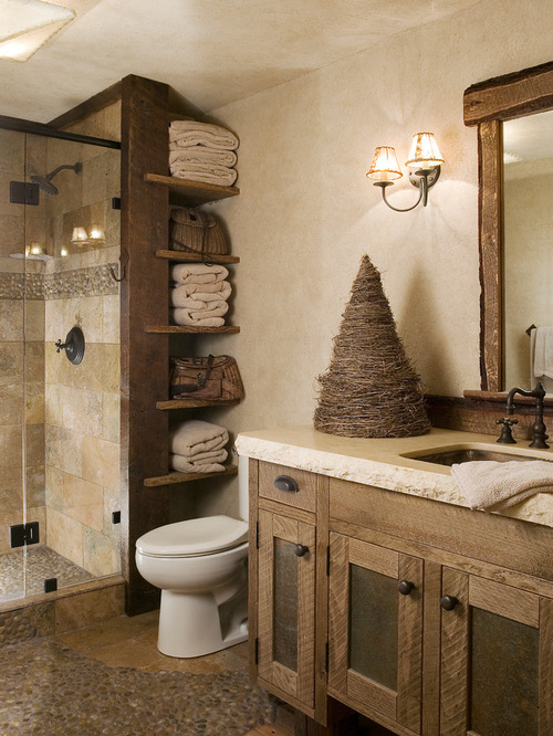 25 rustic bathroom decor ideas for urban world for Cabin shower tile ideas