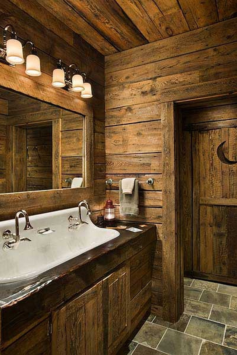 25 rustic bathroom decor ideas for urban world - Salle de bain rustique contemporain ...