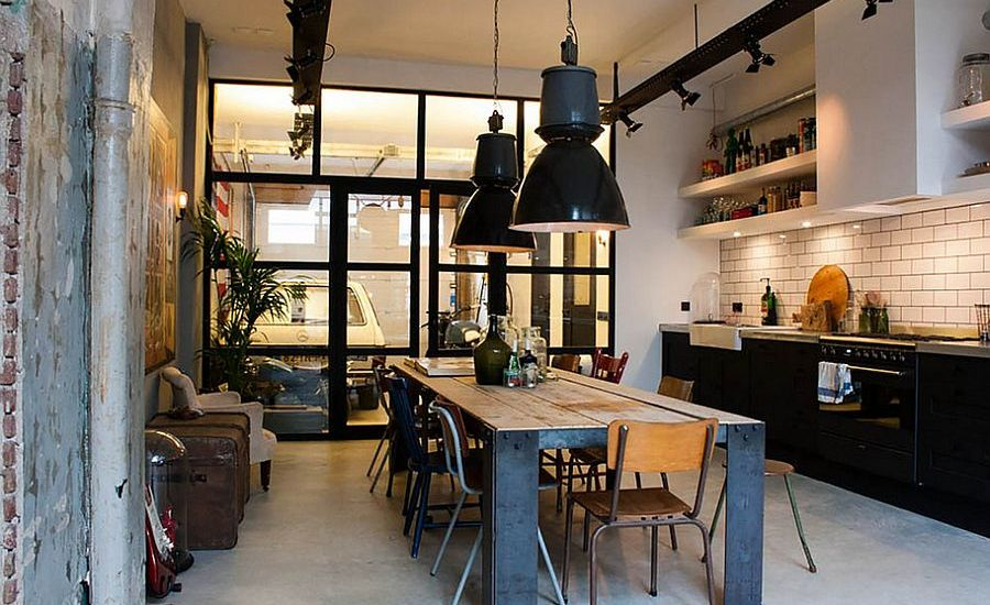 Simple-and-spacious-industrial-kitchen-design-with-black-pendants