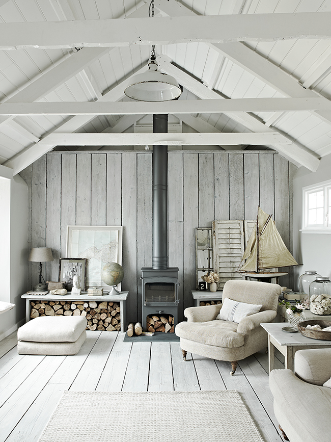 White Coastal style living room