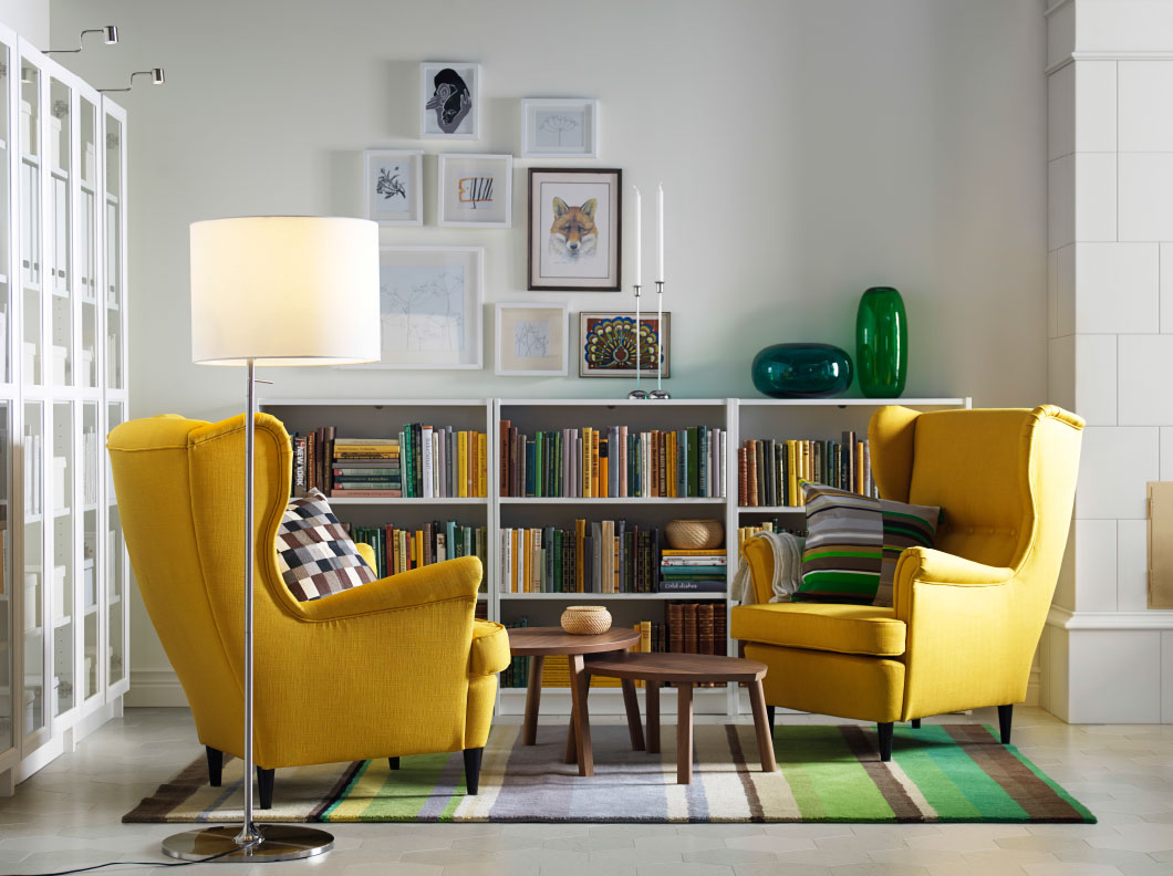 Yellow Sofa With Library Living